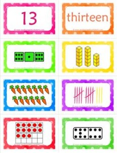 number cards matching game - number 13