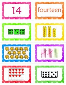 number cards matching game - number 14