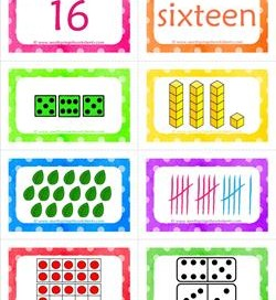 number cards matching game - number 16