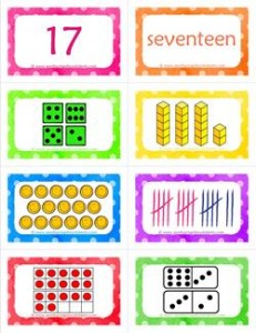 number cards matching game - number 17