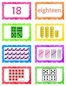 number cards matching game - number 18