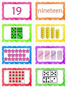 number cards matching game - number 19