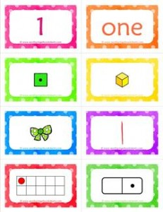 number cards matching game - number 1