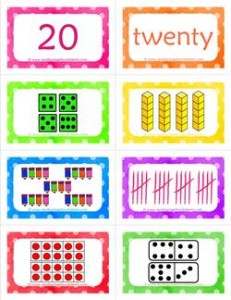 number cards matching game - number 20