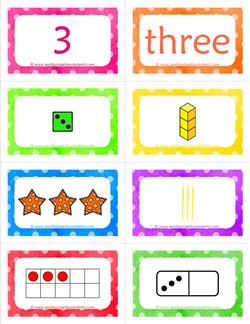 number cards matching game - number 3