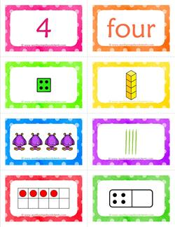 number cards matching game - number 4