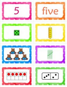 number cards matching game - number 5