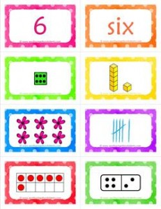 number cards matching game - number 6