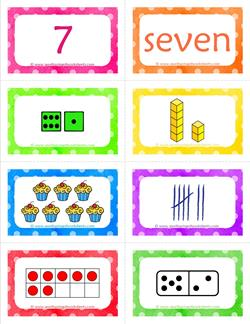 number cards matching game - number 7