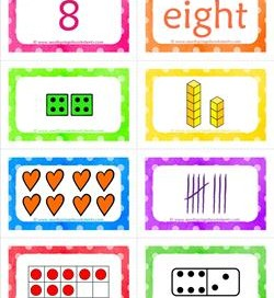 number cards matching game - number 8