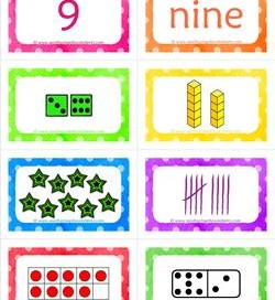 number cards matching game - number 9