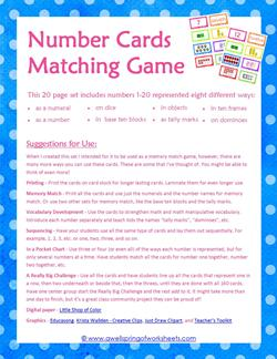 number cards matching game - suggestions for use