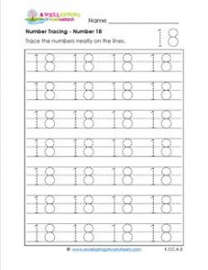 numbers tracing - number 18