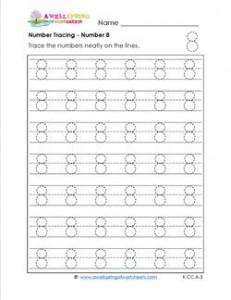 Number Tracing - Number 8 - Kindergarten Numbers