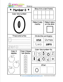 Number Worksheets for Kindergarten - Number 0 Worksheet