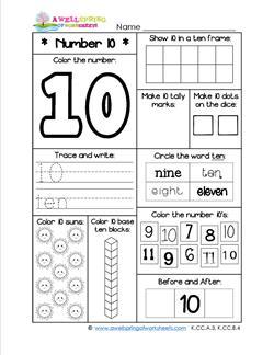 Number Worksheets - Number 10 Worksheet