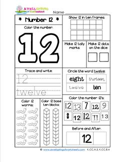 Number Worksheets - Number 12 Worksheet