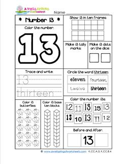number worksheets for kindergarten number 13 worksheet. Black Bedroom Furniture Sets. Home Design Ideas