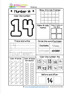 Number Worksheets for Kindergarten | Number 14 Worksheet
