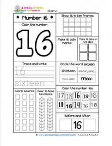 Number Worksheets - Number 16 Worksheet