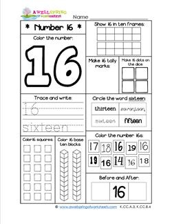 Number Worksheets - Number 16 Worksheet
