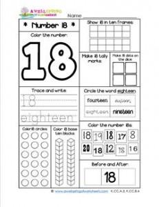 Number Worksheets - Number 18 Worksheet
