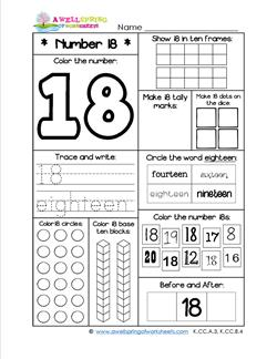 Number Worksheets - Number 18 Worksheet