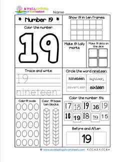 Number Worksheets for Kindergarten | Number 19 Worksheet