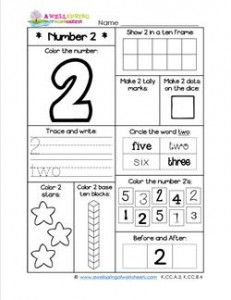 Number Worksheets for Kindergarten | Number 2 Worksheet