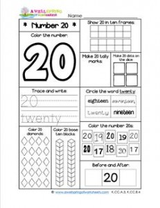 Number Worksheets for Kindergarten | Number 20 Worksheet