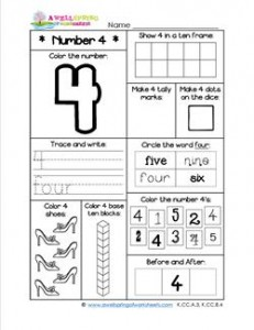 Number Worksheets - Number 4 Worksheet