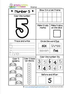 Number Worksheets for Kindergarten | Number 5 Worksheet