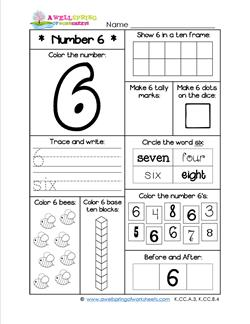 Number Worksheets for Kindergarten| Number 6 Worksheet