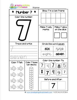number worksheets for kindergarten number 7 worksheet. Black Bedroom Furniture Sets. Home Design Ideas