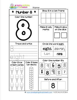 Number Worksheets - Number 8 Worksheet