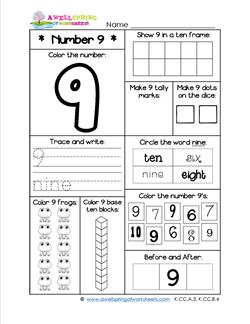Number Worksheets for Kindergarten | Number 9 Worksheet