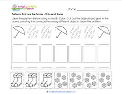 Patterns that are the Same - Rain and Snow - Patterns Worksheets