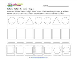 Patterns that are the Same - Shapes - Patterns Worksheets