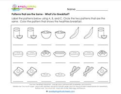 Patterns that are the Same - What's for Breakfast? Patterns Worksheets