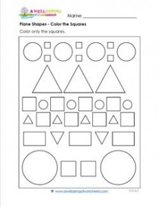 Plane Shapes - Color the Squares - Kindergarten Geometry