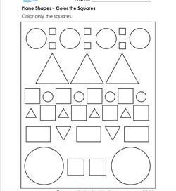 Plane Shapes - Color the Squares - Kindergarten Geometry
