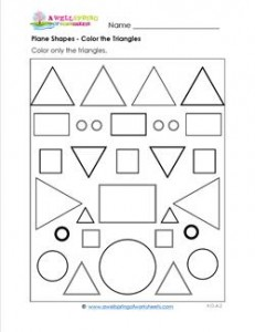 Plane Shapes - Color the Triangles - Kindergarten Geometry