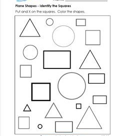 Plane Shapes - Identify the Squares - Kindergarten Geometry