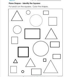 Plane Shapes - Identify the Squares - Kindergarten Geometry