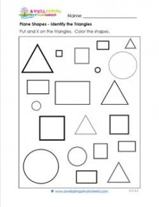 Plane Shapes - Identify the Triangles - Kindergarten Geometry