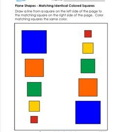 Plane Shapes - Matching Identical Colored Squares - Kindergarten Geometry