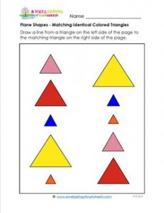 Plane Shapes - Matching Identical Colored Triangles - Kindergarten Geometry