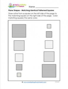 Plane Shapes - Matching Identical Patterned Squares - Kindergarten Geometry