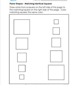 Plane Shapes - Matching Identical Squares - Kindergarten Geometry