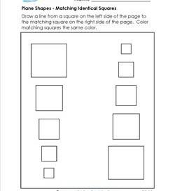 Plane Shapes - Matching Identical Squares - Kindergarten Geometry
